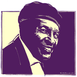 Charles Brown, Blues Musician, Mid-20th century, West Coast style Blues, pianist, singer, scratchboard, drawing