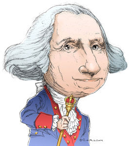 Caricature, Revolutionary War general, first U.S. president, george washington