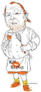 Mario Batali, chef, caricature, cartoon, celebrity chef, kiss the chef, The Chew