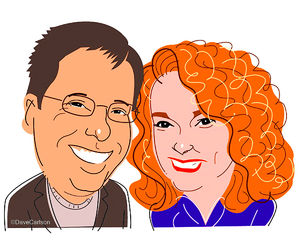 sam barry, kathi kamen goldmark, authors, editors, columnists, caricature
