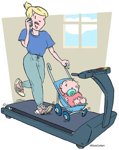 Baby, stroll, stroller, phone, chatting, treadmill, mom