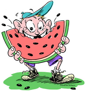 Cartoon, young, boy, kid, eating watermelon, watermelon