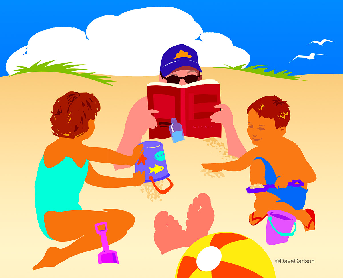beach, kids, dad , photo