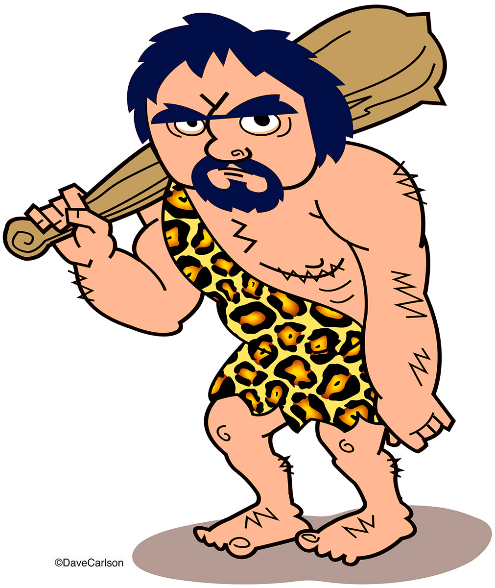Caveman cartoon, Neanderthal man with club, photo
