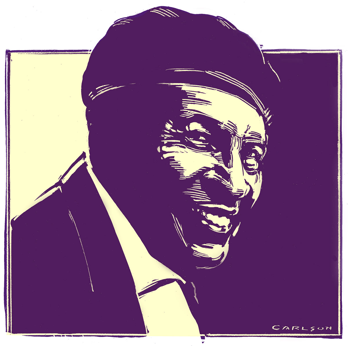 Charles Brown, Blues Musician, Mid-20th century, West Coast style Blues, pianist, singer, scratchboard, drawing, photo