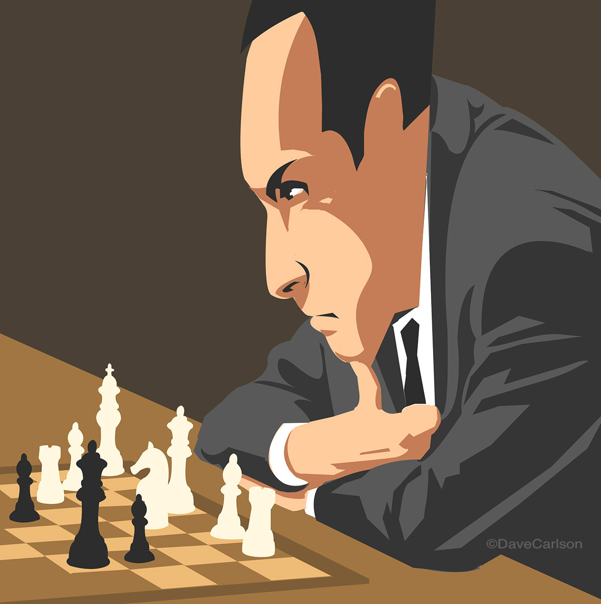 Illustration of Soviet Latvian chess grand master Tikhail Tal, who was active from the 1950's through the 1980's.