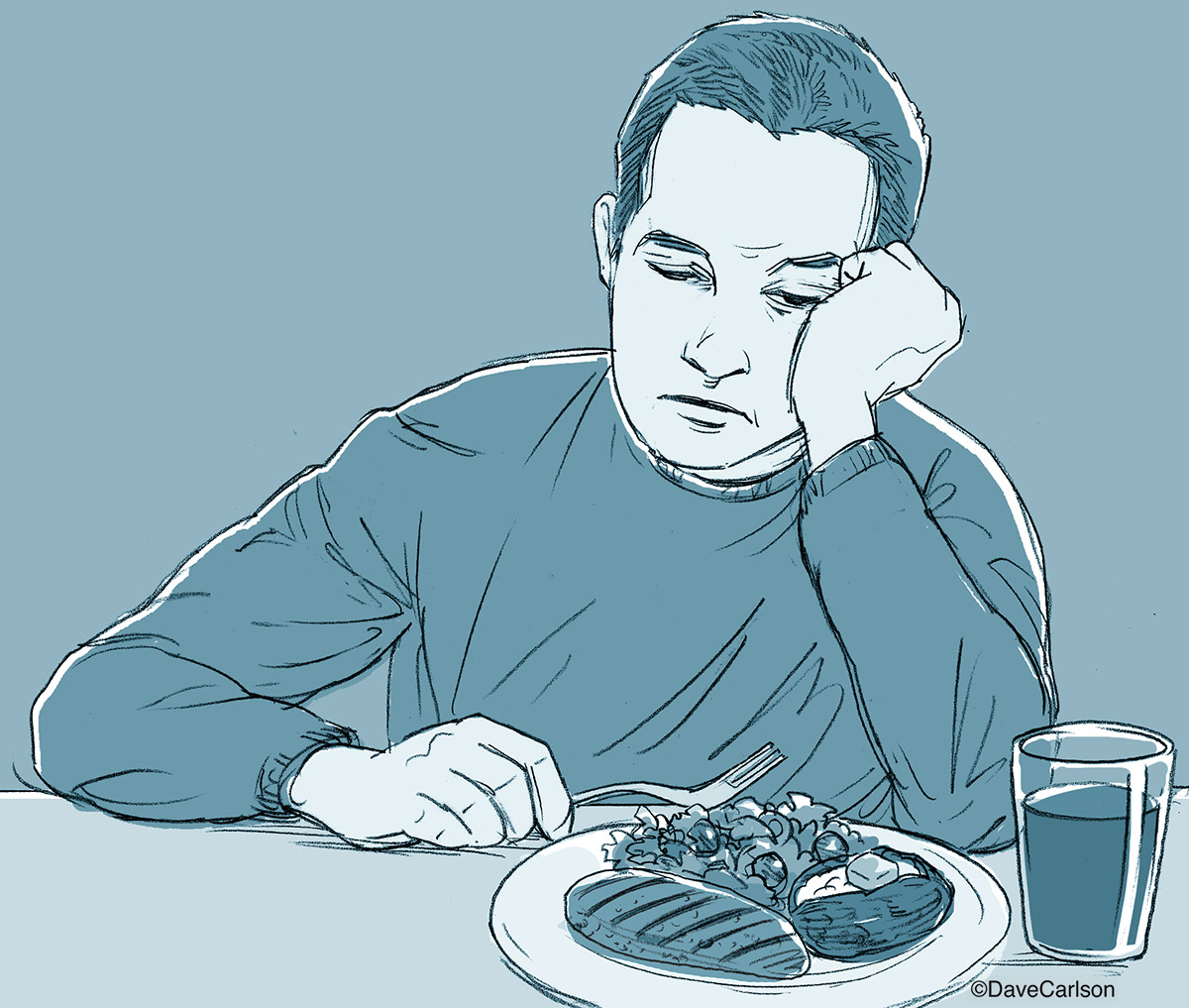 Signs of depression include loss of appetite and malaise