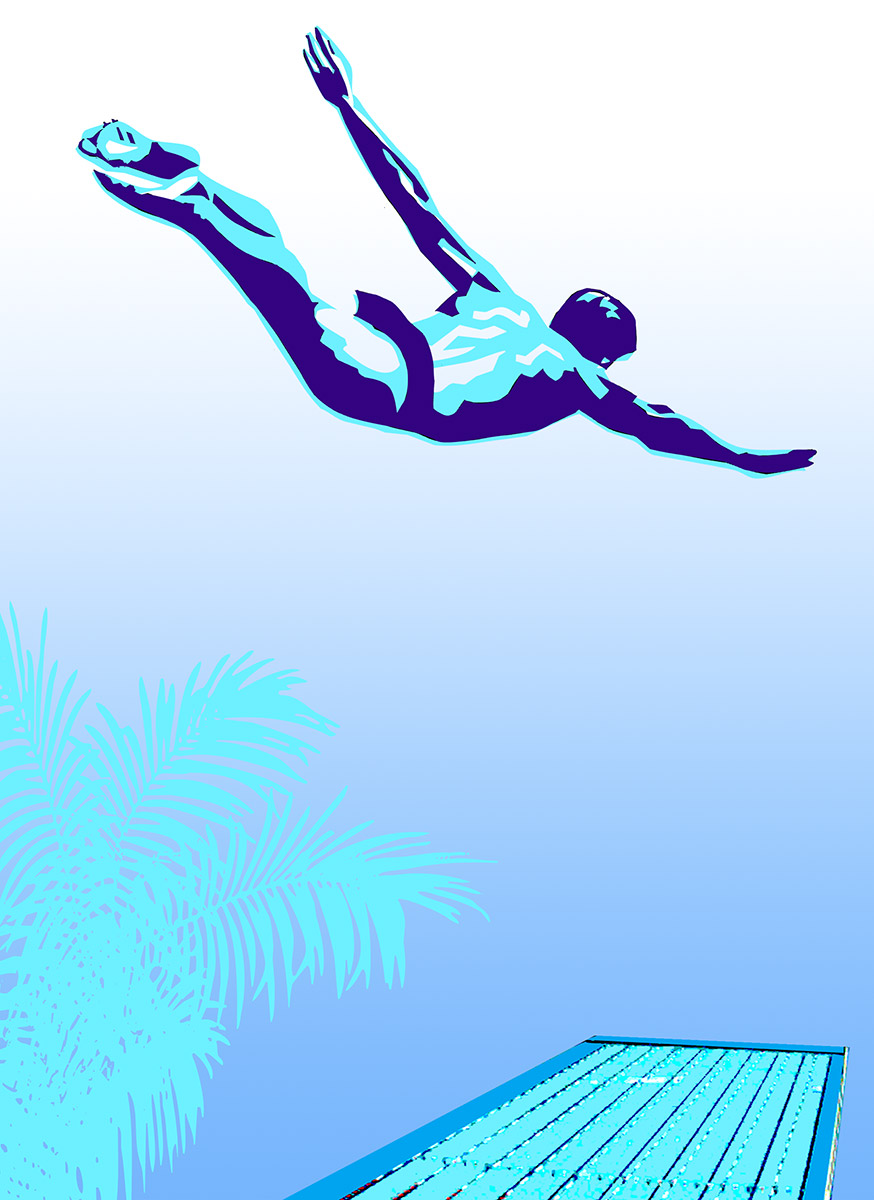 Competition high diver executing a swan dive