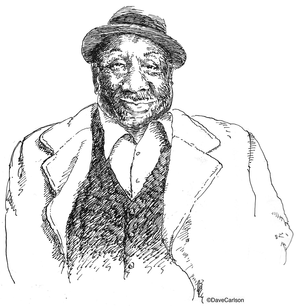 Caricature, McKinley Morganfield, Muddy Waters, Stovall Plantation, Clarksdale, Mississippi, Blues icon, Chess Records, Chicago, blues legend, photo