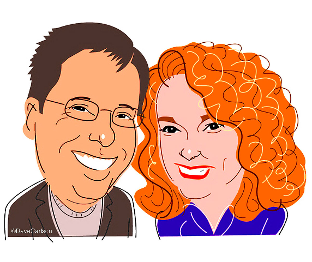 Caricature of authors, editors and columnistsSam Barry and the late great Kathi Kamen Goldmark.